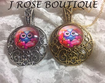 Hot Pink Hooty Hoot Owl Super Cute Silver Or Gold Necklace