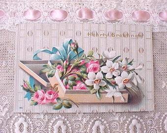 Lovely Edwardian Era Postcard with Box of Flowers