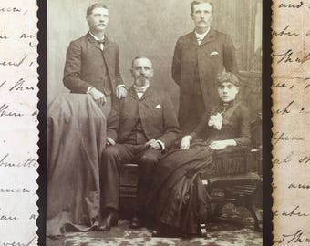 Handsome Victorian Sepia Photograph of Family From Neuman, California