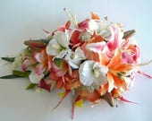 Reserved Listing for Melissa- Stargazer Cascade Bridal Bouquet in Hot Pink and Orange-  Style #109A
