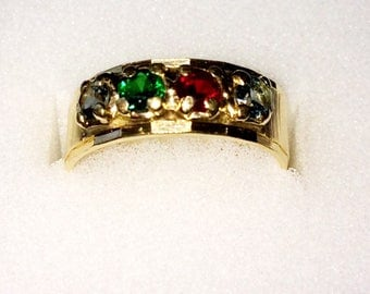 Vintage 14K Yellow Gold Ladies 4-Gem Gleamlight Ring