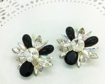 Vintage Black and Clear Rhinestone Clip earrings ~ Beautiful Sparkle
