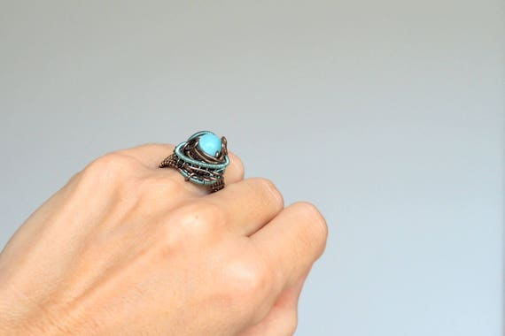 Aquamarine wire wrapped ring Gemstone Anniversary gift for women her girlfriend size US 8