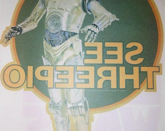 1977 vintage C3PO Star Wars Iron On Transfer - make your own t shirt