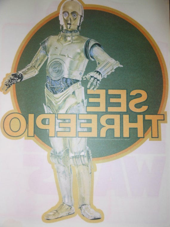 1977 vintage c3po star wars iron on transfer make your own t for Create your own iron on transfer for t shirt