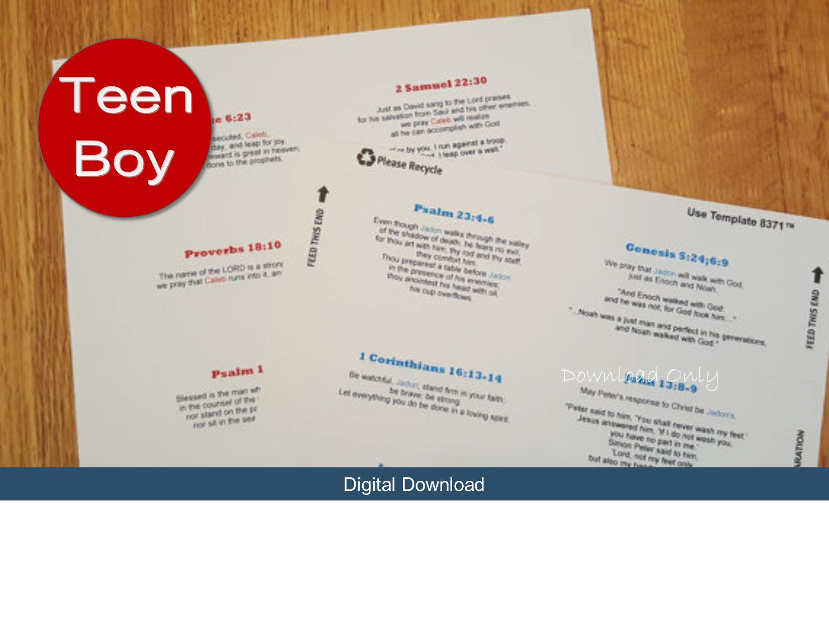 Printable Teen Boy s Personalized Prayer Cards Business