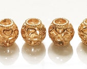 new stock gold tone metal open work heart barrel beads with large holes--matching lot of 4