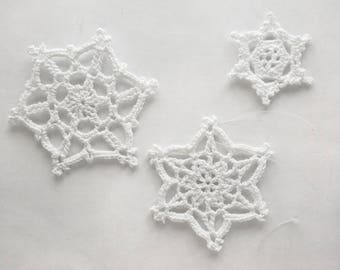 Lace Snowflake Ornaments, White, Set of 3 - Crochet Holiday Winter Decor Elegant Modern Cottage Traditional