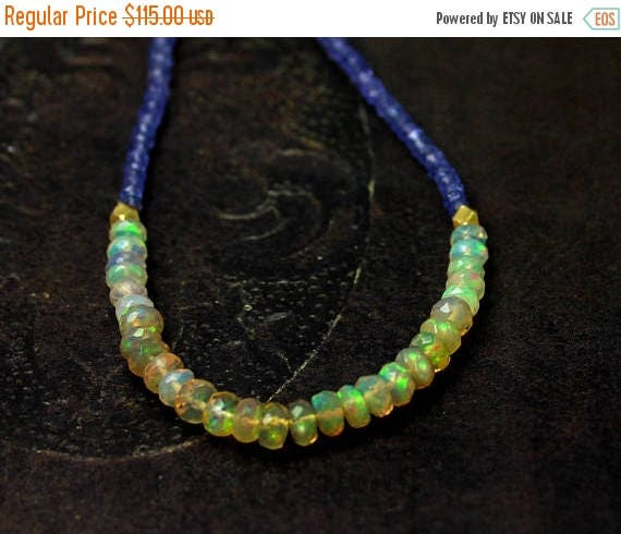 20% off. Ethiopian Opal and Tanzanite Necklace. Beaded Opal Necklace. Tanzanite Necklace. Opal Necklace. In Gold or Silver. N2385