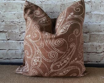 Brown Pillows - Brown Pillow Covers - Brown and Gold Pillow - Brown Linen Pillow - Linen Pillows - Linen Pillow Cover - Brown Paisley