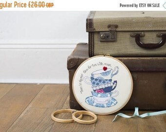 ON SALE Mother's Day gift - Teacup embroidery art - Gift for tea lover - Teacup gift - Kitchen art - Teacup art - Teacup and saucer appliqué
