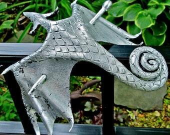 Silver Leather Dragon Stick Barrette, Large Silver Foil Wyvern Hair Stick, Metallic Amphiptere Hair Slide  (Large) (B274L)