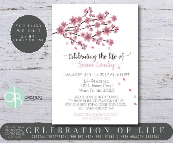 Cherry Blossom Tree Celebration of Life Invitations Digital