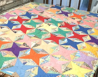 Quilt / Star Quilt / Four Point Star Quilt / Feed Sack Quilt / Vintage Quilt / Handmade Quilt / Homemade Quilt / Christmas Gift