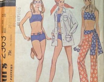 Bathing Suit Pattern / Misses Two Piece Bathing Suit / Retro Two Piece / Vintage Bathing Suit Coverup / McCalls 2363 / UNCUT