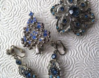 Blue Christmas Tree Brooch Pin Blue Rhinestone Matching Brooch Earring Set by Art Signed Mid Century Blue Christmas Silvertone Jewelry
