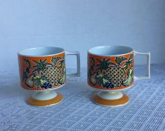 Wedding Sale Vintage Ceramic Footed Mugs / Pineapple Florencia 745 by Jonas Roberts / Orange and Yellow Fruit Coffee Cups