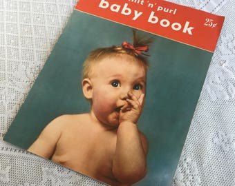 Knit N Purl Baby Book / Vintage 1950s Knitting Patterns / Baby Sweater Pattern Book