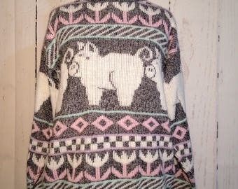 Vintage 80s Novelty Pink White Gray Pigs and flowers Sweater Fairy Kei Kawaii Piggy Jumper 1980s