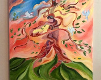 Tree full of life, 36 x 36 inches original acrylic painting on standard canvas, beautiful whimsical tree art