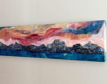 Sunset Dreams, 48 x 12 inches original acrylic mixed media painting, slate and resin colourful art
