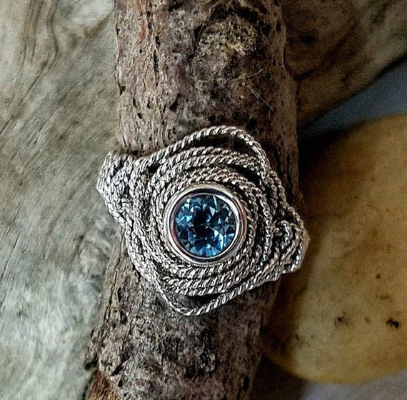 Blue Topaz Gemstone Argentium Silver Twist Wire Ring Size 7.25