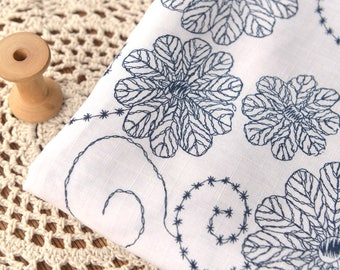 Blue Floral Print Fabric Sold by Half Metre MJ717