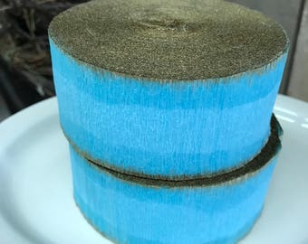 Crepe Paper Roll Party Decor Vintage Stock Easter Wedding Christmas Turquoise Blue Aqua Blue Gold Gilt Marie Antoinette (Small Roll)