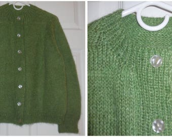 Vintage Wool Sweater 1950s Green Wool Cardigan Hand Knit Large Buttons Rockabilly XL chest to 45 inches Ex Cond