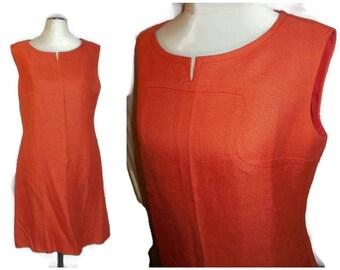 Vintage 1960s Dress Great Little Orange Linen Sheath Dress Mod Etui Kleid Boho M chest to 38 inches