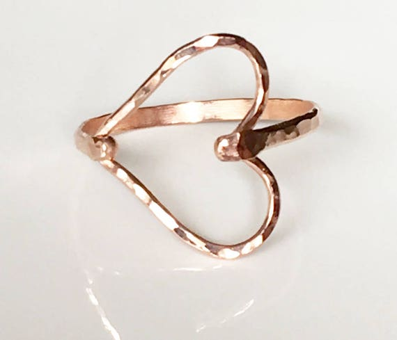 Hammered Sideways Heart Rose Gold Filled Ring Heart Ring