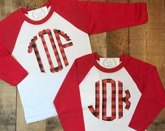 Youth Holiday Plaid Monogram Raglan Shirt - Plaid Monogrammed Raglan Tee - Checked Monogram Baseball Tshirt - Christmas Monogram Raglan
