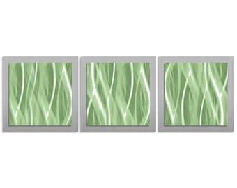 Mint & Silver Décor 'Mint Essence' - 38x12 in. - Contemporary Mint Green Wall Art - Modern Metal Artwork - Cool Tones Metallic Metal Dyes