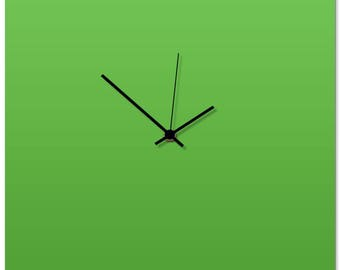 Contemporary Clock 'Greenout Square Clock' by Adam Schwoeppe - Original Green Kitchen Clock Minimalist Wall Decor on Aluminum Polymetal