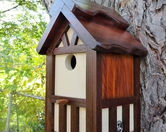 Painted Bird house/Nesting Box, American Tudor style 8, thatch roof design, EZ cleanout, western red cedar, Made in USA, fully functional