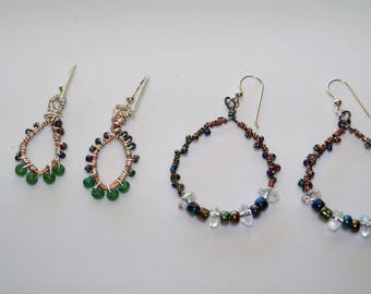 Boho Copper & Bead Wire Wrapped Earrings On Sterling Wires