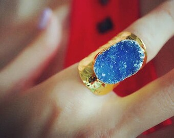 Purple Rain - Gold Plated Druzy Agate Statement Cigar Ring