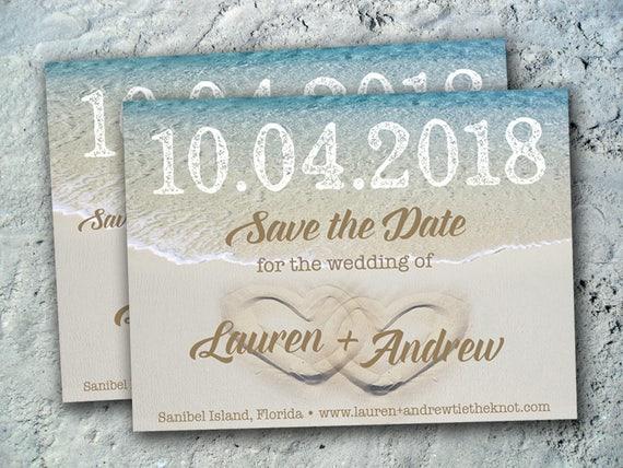 Elopement Wedding Invitations: Beach Save The Date Wedding Reception Elopement Invitations