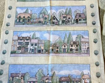 "VINTAGE Tea Towel ""Cottages of Britain"" made in UK"