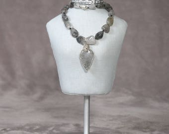 Black Rutile Quartz natural stone pendant and necklace