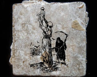 Baby and mother with death etching coaster set. **Ask for free gift wrapping and have them sent directly to the recipient!**