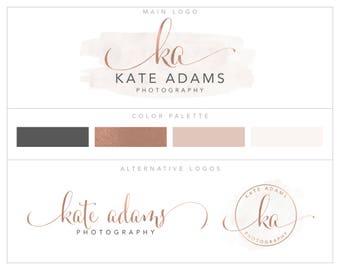 Photography Logo, Branding Package,  Logo Set, Mini Logo Package, Rose Gold logo Branding Kit, Photography Watermarks Package  bp97