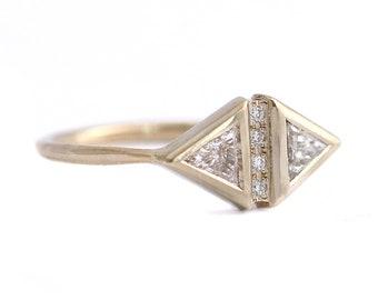 Art Deco Style Ring, Diamond Triangle Ring, Simple Engagement Ring, Vintage Diamond Ring, Art Deco Diamond Engagement Ring, Geometric Ring