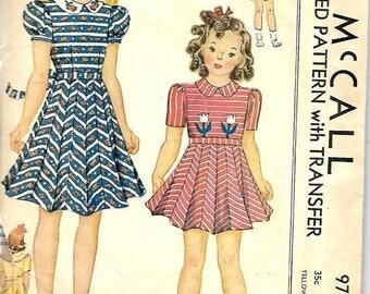 ON SALE 1940's McCall's 971 Girls Size 10 Necktie Dress Pattern, Transfer Included