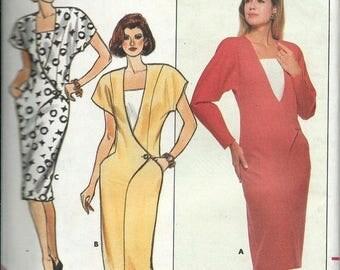 ON SALE Butterick 4621 David Warren Dress Pattern, Shaped Front, Size 8-10-12 & 14-16-18 UNCUT