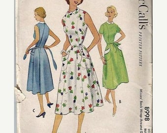 25% OFF McCall's 8998 1950's Misses Back Wrap-Around  Dress Pattern, Size 12, Bust 30