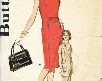 1960's Butterick 2272 Misses Semi Fitted Sheath Dress Sewing Pattern, Size 14, Bust 34