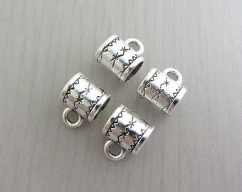 4 Patterened Bails, 8mm x 10mm Silver Coloured Bail, 5.5mm Hole Size, Bead Destash
