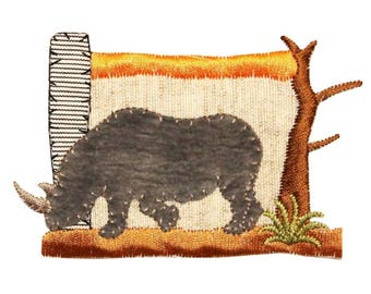 ID 0587 African Rhinoceros Patch Scene Rhino Safari Embroidered Iron On Applique