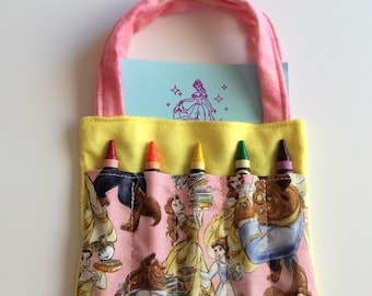 Beauty and the Beast Children's Crayon Bag and Customized Paper, Birthday Party Favor